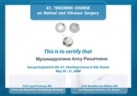 Сертификат участника «61. Teaching Course on Retinal and Vitreous Surgery»