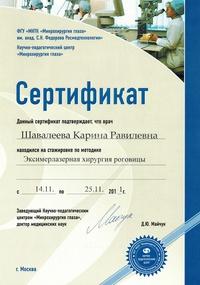 Сертификат участника стажировки по методике «Эксимерлазерная хирургия роговицы»